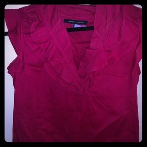 Small Hot Pink Ruffled French Connection Blouse